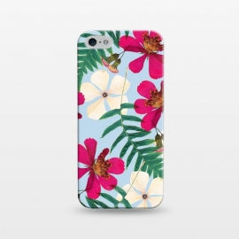 iPhone 5/5E/5s  Vintage in My Heart by Uma Prabhakar Gokhale (graphic design, pattern, floral, bloom, blossom, nature, flowers, leaves, flourish, exotic, tropical, botanical, vintage, white, pink, green, fern)