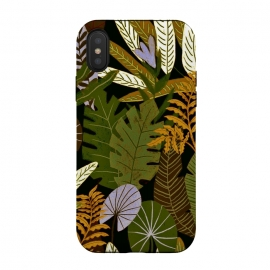 iPhone Xs / X  Green Aloha Tropical Jungle by Utart (abstract, aloha, botanic, botanical, botany, colorful, drawing, drawn, exotic, fashion, flora, floral, flower, foliage, forest, garden, green, hawaii, hawaiian, illustration, jungle, leaf, natural, nature, palm, pattern, philodendron, plant, spring, summer, tree, trendy, tropic, tropical, tropical l)