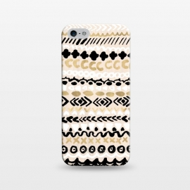 iPhone 5/5E/5s  Black, White & Gold Tribal by
