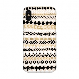 iPhone X  Black, White & Gold Tribal by Tangerine-Tane