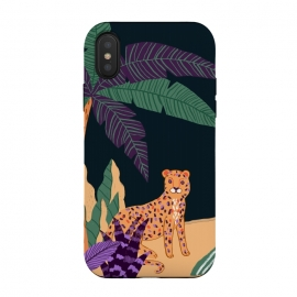 Cheetah on Tropical Beach by Utart (abstract, aloha, botanic, botanical, botany, colorful, drawing, drawn, exotic, fashion, flora, floral, flower, foliage, forest, garden, green, hawaii, hawaiian, illustration, jungle, leaf, natural, nature, palm, pattern, philodendron, plant, spring, summer, tree, trendy, tropic, tropical, tropical l)