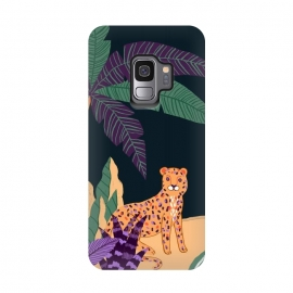 Galaxy S9  Cheetah on Tropical Beach by Utart (abstract, aloha, botanic, botanical, botany, colorful, drawing, drawn, exotic, fashion, flora, floral, flower, foliage, forest, garden, green, hawaii, hawaiian, illustration, jungle, leaf, natural, nature, palm, pattern, philodendron, plant, spring, summer, tree, trendy, tropic, tropical, tropical l)