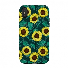 iPhone Xs / X  Sunny Sunflowers - Emerald  by Tigatiga