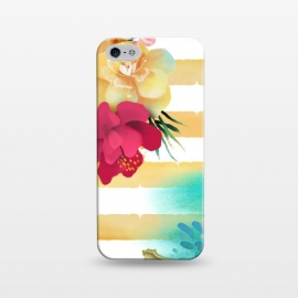 iPhone 5/5E/5s  Golden Stripes & Flowers by ArtPrInk
