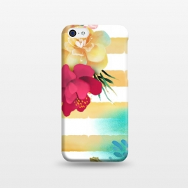 iPhone 5C  Golden Stripes & Flowers by ArtPrInk