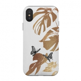 iPhone Xs / X  Fluttering Nature I by ''CVogiatzi. (cvogiatzi, cv, new, design, tropical, leaves, leaf, nature, plant, butterflies, gold, gray, white, modern, minimal, trend, glam, luxury, gallery, branches, b&w, wood, flowers, floral, animal, birds, parrot, banana leaf, silk, best, top, marble)