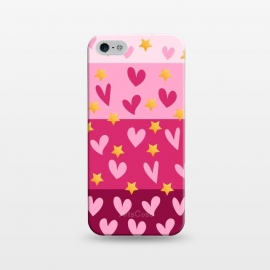 iPhone 5/5E/5s  Pink Hearts With Stars by Rossy Villarreal