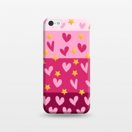 iPhone 5C  Pink Hearts With Stars by Rossy Villarreal