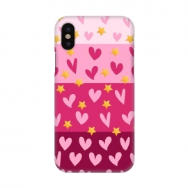 iPhone X  Pink Hearts With Stars by Rossy Villarreal