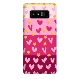 Galaxy Note 8  Pink Hearts With Stars by Rossy Villarreal