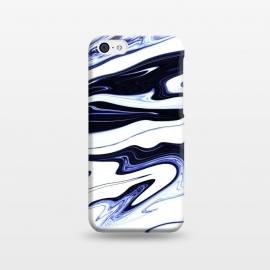 iPhone 5C  September 1 by Ashley Camille (marble,wavy,waves,abstract,white,blue,navy,paint,painted,marbled,marbling)