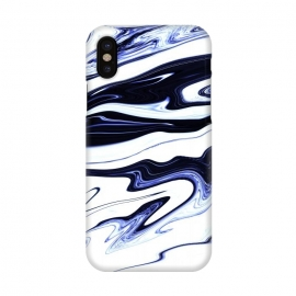 iPhone X  September 1 by Ashley Camille (marble,wavy,waves,abstract,white,blue,navy,paint,painted,marbled,marbling)