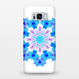 Galaxy S8+  Flower Mandala Violet Blue Watercolor Floral Art by Boriana Giormova