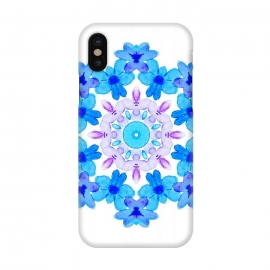 iPhone X  Flower Mandala Violet Blue Watercolor Floral Art by Boriana Giormova