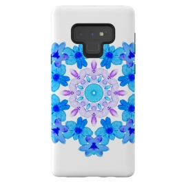 Galaxy Note 9  Flower Mandala Violet Blue Watercolor Floral Art by