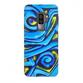 Galaxy S9 plus  Blue Yellow Graffiti by  (grunge,gift,old,texture,urban,cool, distressed, edgy, street art, painting, paint, colorful, vandalism, art, text, tags, words, graffiti, spray paint, independent, underground, trendy, unique, fashionable, stencil, pop-art)