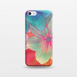 Between the Lines - tropical flowers in pink, orange, blue & mint by Micklyn Le Feuvre