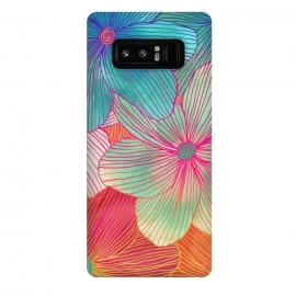 Galaxy Note 8  Between the Lines - tropical flowers in pink, orange, blue & mint by  (bright,tropical,flower,pattern,flowers,floral,fun,hot pink,magenta,aqua,turquoise,orange,melon,beach,petals,linework,micklyn)