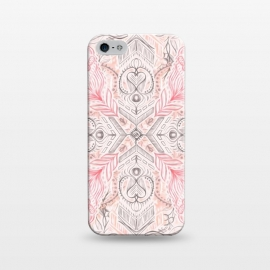 iPhone 5/5E/5s  Boho Soft Peach Pink Tribal Pattern by Micklyn Le Feuvre