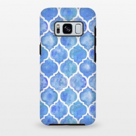 Galaxy S8 plus  Cornflower Blue Textured Moroccan Pattern by  (cornflower,blue,purple,Moroccan,pattern, Marrakech,Marrakesh,tiles,micklyn,texture,blue and white,china, watercolor,watercolour,monochrome,trend,hand painted)