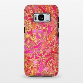 Hot Pink and Gold Baroque Floral Pattern by Micklyn Le Feuvre (hot,pink,magenta,orange,gold,gilded,doodle,doodles,boho,bohemian,micklyn,mandala,medallion,stained glass,bright,colorful,girly,eastern)