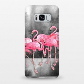 Galaxy S8+  Pink Flamingos in Watercolor & Ink by Micklyn Le Feuvre