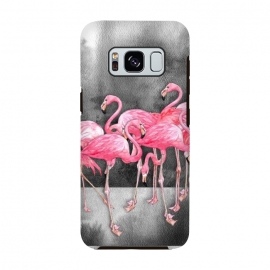 Galaxy S8  Pink Flamingos in Watercolor & Ink by Micklyn Le Feuvre