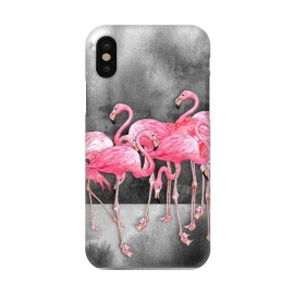 iPhone X  Pink Flamingos in Watercolor & Ink by Micklyn Le Feuvre (pink,watercolor,flamingo,flamingos,watercolour,illustration,painting,micklyn,nature,birds,black and white, ink, flock,bird,modern,trendy,cute,grey)