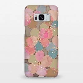 Galaxy S8+  Simple Floral in Soft Neutrals and Pink by Micklyn Le Feuvre (tan,neutrals,pastel,poppies,floral,flower,flowers,pattern,texture,collage,micklyn,girly,pretty,pink,taupe,cream,teal,drawing,linework,fabric)