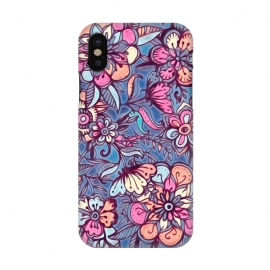 iPhone X  Sweet Spring Floral - soft indigo & candy pastels by Micklyn Le Feuvre