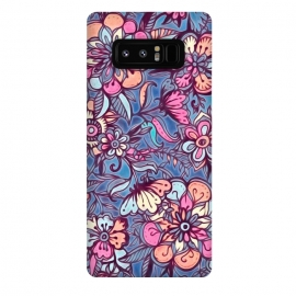 Galaxy Note 8  Sweet Spring Floral - soft indigo & candy pastels by Micklyn Le Feuvre (painted,floral,flower,pattern,micklyn,candy,pink,melon,peach,cream,indigo,blue,dark red,doodle,leaves,leaf,botanical,cute,textured,texture,girly)