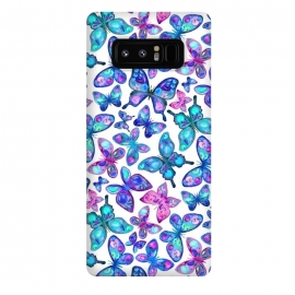 Galaxy Note 8  Watercolor Fruit Patterned Butterflies - aqua and sapphire by Micklyn Le Feuvre