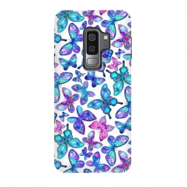 Galaxy S9 plus  Watercolor Fruit Patterned Butterflies - aqua and sapphire by