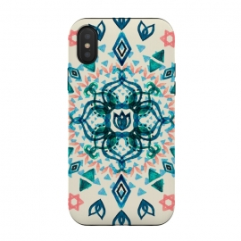 iPhone Xs / X  Watercolor Lotus Mandala in Teal & Salmon Pink by Micklyn Le Feuvre (tribal,watercolor,watercolour,mandala,teal,green,emerald,peach,pink,cream,blue,triangles,geometric,micklyn,boho,bohemian,simple,texture)