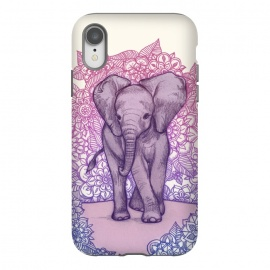 iPhone Xr  Cute Baby Elephant in pink purple and blue by Micklyn Le Feuvre