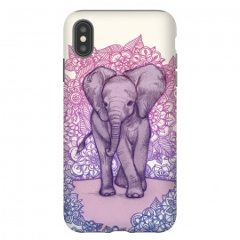 iPhone Xs Max  Cute Baby Elephant in pink purple and blue by Micklyn Le Feuvre