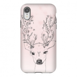 Cute Handdrawn Floral Deer Antlers Pink by Girly Trend