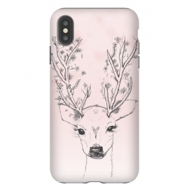 Cute Handdrawn Floral Deer Antlers Pink by Girly Trend ()