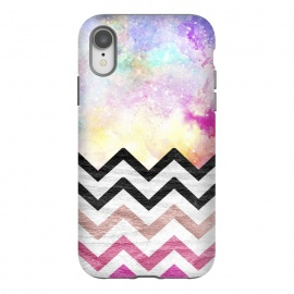 iPhone Xr  SC Watercolor Nebula Space Pink ombre Wood Chevron by  ()