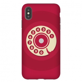 iPhone Xs Max  Vintage Red Telephone by Dellán (retro,phone,smart phone,telephone,vintage,red,classic,call,funny,numbers,gender neutral,wonan fashion,men fashion,geek,hipster,collectable,minimalist)