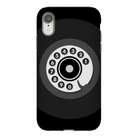 iPhone Xr  Vintage Black Phone by Dellán (smartphone,phone,retro,vintage,classic,old fashioned,black,geek,hipster,collectable,80's,70's,60´s,50´s,old,antique,telephone)
