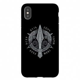 iPhone Xs Max  GUNGNIR ( Odin's Spear ) by RAIDHO (vikings,gungnir,odin,spear,nordic mythology,ravens,odin's ravens,hugin and munin,knotwork,runes,futhark)