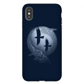 iPhone Xs Max  ODIN'S RAVENS by RAIDHO (ODIN,ODIN'S RAVENS,HUGIN AND MUNIN,MOON,NORDIC MYTHOLOGY,VIKINGS,KNOTWORK,RAVENS)