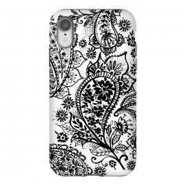 iPhone Xr  Ink paisley by Laura Grant (paisley,blackandwhite,pattern)