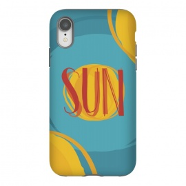 iPhone Xr  Hot Sun on Blue Sky by Dellán (sun,summer,spring,hot,beach,sea,party,warm,fresh,typographic,text,hipster,trendy,cheerful,colorful,good vibes,paint,oil paint,brush,paint brush,art,artistic)