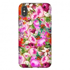 iPhone Xs Max  Nectar by  (acrylic, other, pattern, expressionism, floral, nature, birds, summer, flourish, bloom, tropical, exotic, roses)