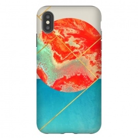 iPhone Xs Max  Earth & Sea by Uma Prabhakar Gokhale (graphic design, watercolor, other, abstract, concept, marble, coral, paper marble, exotic, geometric, blue, gold, golden, metallic)