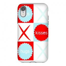 Hugs & Kissies by Bettie * Blue (love,kisses,hugs,red,blue,x and o,hugs and kisses,tic tac toe,graphic,i love you,red white and blue,red and blue,red and aqua)