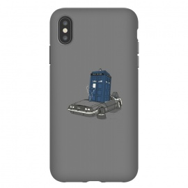 iPhone Xs Max  Stuck in the future by Xylo Riescent (robo rat,tardis,DeLorean,back to the future,doctor who,movies,mash up,funny,cool,phone booth,car,awesome,gray)