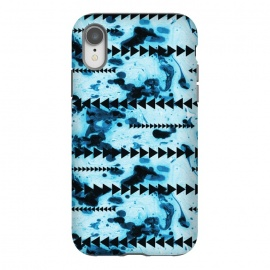 iPhone Xr  marble stripe by Laura Grant (marble,geometric,triangle,blue,pattern)